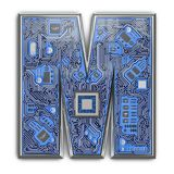 Letter M. Alphabet in circuit board style. Digital hi-tech letter isolated on white royalty free stock images