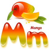 Letter M. Alphabet. English capital and uppercase letter M, stylized color of mango  juice. mango with leaf and slices. vector illustration Royalty Free Stock Images