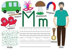 Letter M. Alphabet. English language. Writing practice. Royalty Free Stock Photos