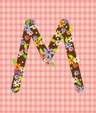 The letter M Bright floral element of colorful alphabet in  Stock Images