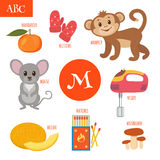 Letter M. Cartoon alphabet for children. Monkey, mouse, mushroom Stock Images