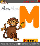 Letter m with cartoon monkey. Educational Cartoon Illustration of Letter M from Alphabet with Monkey Animal Character for Children Royalty Free Stock Photo