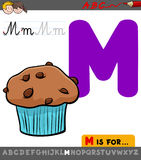 Letter m with cartoon muffin sweet cake Stock Image