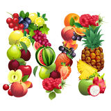 Letter M composed of different fruits with leaves Royalty Free Stock Image