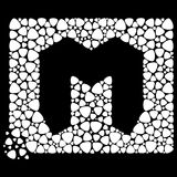 Symbol or letter m surrounded by white mediators Stock Image