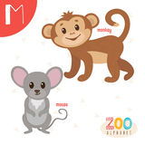 Letter M. Cute animals. Funny cartoon animals in vector. ABC boo. K. Vector illustration Royalty Free Stock Photo