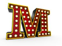 Letter M 3D Broadway Style. High quality 3D illustration of the letter M in Broadway style with light bulbs illuminating it over white background stock illustration