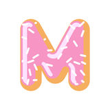 Letter M donut font. Doughnut alphabet. Sweet lettering. candy A Stock Photo