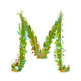 Letter M Flower calligraphy floral elegant decorative alphabet Royalty Free Stock Photos