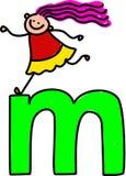 Letter M girl. Happy little girl climbing over giant letter M - lowercase version Stock Photos
