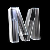 Letter M in glass 3D Stock Photo