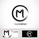 Letter M grunge circle logo Royalty Free Stock Image