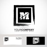 Letter M grunge square logo Royalty Free Stock Images