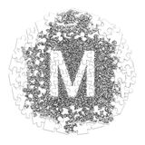 Letter M. Hand made font drawn with graphic pen on white backgro. Und in jigsaw puzzle shape Stock Photo
