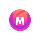 Letter M logo abstract circle shape element. Vector round compan Royalty Free Stock Photos