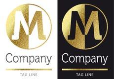 Letter M logo. Golden bright letter M logo stock illustration