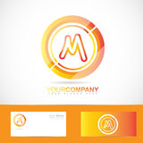 Letter M logo orange inside circle 3d Stock Photography