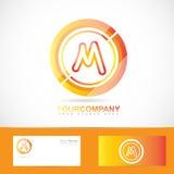 Letter M logo orange inside circle 3d Stock Photography