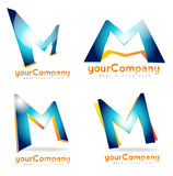 Letter M logo set. Letter M logo corporate 3d icon set stock illustration
