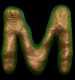 Letter M made of natural gold snake skin texture isolated on black. Letter M made of natural gold snake skin texture isolated on black 3d rendering stock illustration