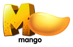 A letter M for mango. Illustration of a letter M for mango on a white background Stock Photos