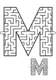 Letter M maze game for kids. Alphabet learning fun and educational activity for kids - letter M maze game. Answer included vector illustration