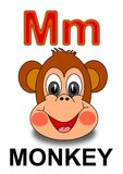 Letter M monkey. Alphabet Drawing for small schoolchildren M monkey Royalty Free Stock Photo