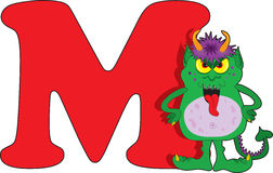 Letter M with a Monster Royalty Free Stock Images