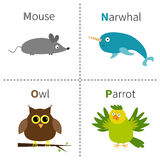 Letter M N O P Mouse Narwhal Owl Parrot Zoo alphabet. English abc with animals Education cards for kids  White background Stock Images