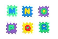 Letter m, n, o, p, q, r. Letter m to r, like puzzle, isolated on white background Royalty Free Stock Photos
