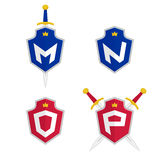 Letter M, N, O, P vector logo templates. Letter logo with shield and sword. Royalty Free Stock Photos