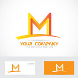 Letter M orange 3d logo Royalty Free Stock Images