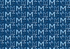 Letter M pattern in different colored blue shades for wallpaper. Background use vector illustration
