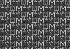 Letter M pattern in different colored grey shades for wallpaper. Background use stock illustration