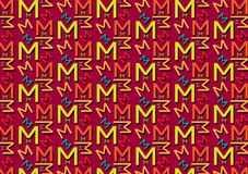 Letter M pattern in different colored shades for wallpaper. Background use vector illustration