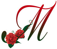 Letter M red floral  illustration. Red rose decorated Letter M font , colorful and Stock Photography