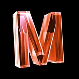 Letter M in red glass 3D Royalty Free Stock Photo