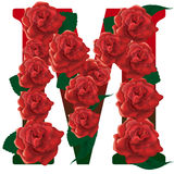 Letter M red roses illustration. Red rose decorated letter M , colorful and vector illustration
