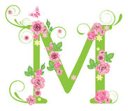 Letter M with roses vector illustration