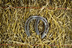 Letter M Steel Horseshoe on Straw royalty free stock photography