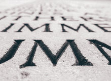 Letter 'M' on Stone Stock Photos