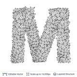 Letter M symbol of white leaves. Stock Photo