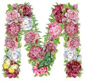 Letter M of watercolor flowers stock illustration