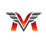 Letter M with wing logo vector Royalty Free Stock Photo
