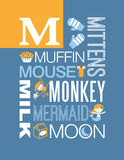 Letter M words typography illustration alphabet poster design. Illustrated word typography design with the letter M Stock Photo