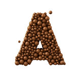Letter A made of chocolate bubbles, milk chocolate concept, 3d render.  royalty free illustration