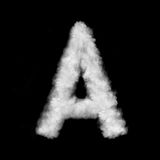 Letter A made of the clouds. Letter made of the natural clouds isolated on black background stock illustration