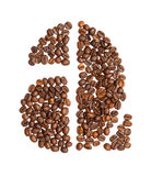 Letter A made of coffee beans Stock Photography