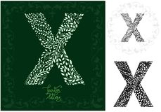 Leaves alphabet, Letter X Royalty Free Stock Photography