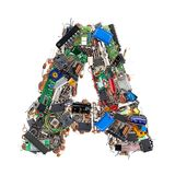 Letter A made of electronic components Stock Photos